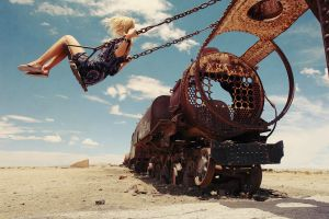 wheels rust long hair metal chains stones locomotive flip flops model desert vehicle wreck sand women clouds