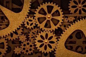 wheels steampunk gears digital art grid technology