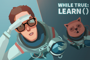 while true: learn() video game art video games