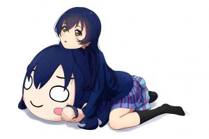white background love live! sonoda umi anime girls socks kneeling yellow eyes anime blue hair