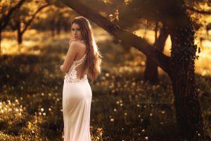 white dress soft portrait looking back women viktoria stephanie stefan häusler women outdoors long hair brunette trees