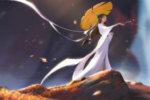 white dress women umbrella artwork