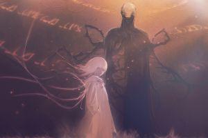 white hair devil horror original characters fantasy art slender artwork anime girls digital art
