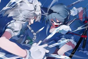 white hair konpaku youmu battle artwork anime girls blue hair digital art izayoi sakuya touhou katana