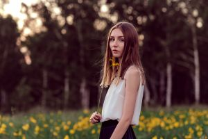white tops women outdoors trees portrait yellow flowers model depth of field women looking at viewer