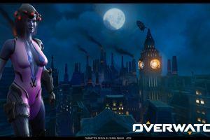 widowmaker (overwatch) green eyes render model 3d design overwatch widowmaker digital art women cgi purple skin kingsrow pink hair