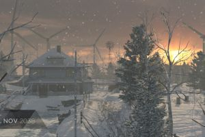 windmill sunset golden hour snow detroit: become human house trees