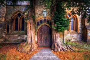 window costwolds church trees hdr door village old building architecture arch england