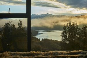 window nature landscape room mountains trees clouds lake bedroom