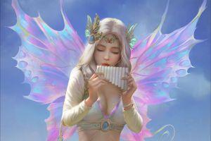 wings fantasy girl cleavage women blonde digital art yakun wang  flute