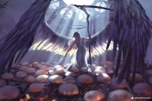 wings fantasy girl eggs wlop fantasy art anime girls anime