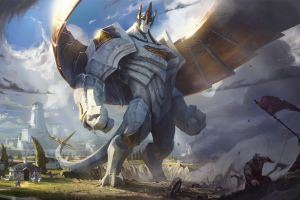 wings sky galio giant armor victor maury war city league of legends hero digital art