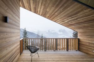 winter cabin balcony