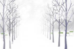 winter illustration trees snow
