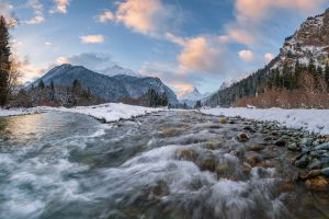 winter mountains nature landscape river water