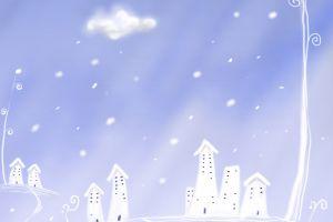 winter sky illustration snow