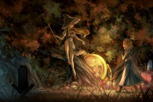 witch nature touhou video games anime girls kirisame marisa dress hat forest alice margatroid