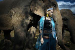 women asian elephant model animals