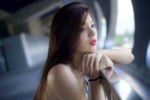 women asian model women outdoors looking into the distance depth of field brunette
