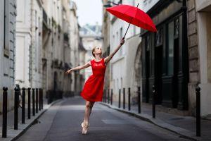 women ballerina red dress umbrella women outdoors urban