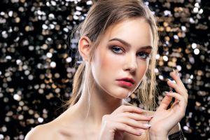 women bare shoulders model portrait brunette makeup long hair blue eyes face