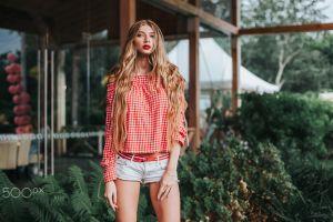 women blonde anton harisov model jean shorts the gap