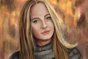 women blonde artwork portrait