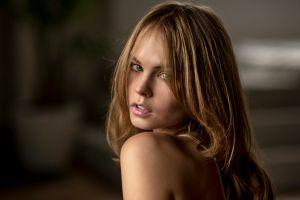 women blonde hair in face portrait anastasia scheglova