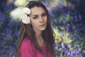 women blue eyes anastasia vervueren pink sweater eyeliner long hair looking at viewer brunette model flower in hair