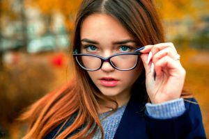 women bokeh aleksandr suhar overcoats women with glasses coats sweater brunette outdoors blue coat model glasses women outdoors looking at viewer fall