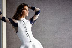 women brunette alicia vikander arms up portrait front angle view long hair celebrity