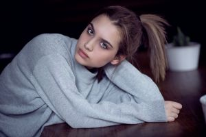 women brunette ponytail sweater grey sweater model looking at viewer