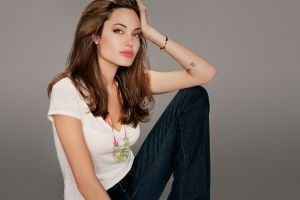 women celebrity green eyes angelina jolie actress hand on head touching face brunette white tops
