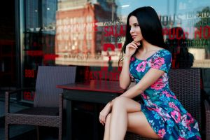 women chair black hair women outdoors flower dress legs crossed dress table sitting portrait looking away short skirt