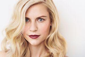 women claire danes portrait celebrity simple background red lipstick blonde long hair actress