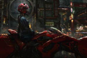 women concept art digital art science fiction street futuristic fantasy art cyberpunk helmet motorcycle braids eddie mendoza akira artwork