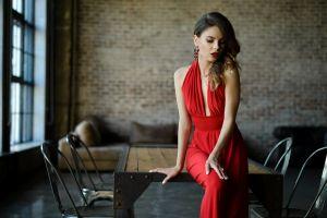 women dark hair necklace model red lipstick red women indoors