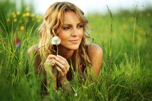 women depth of field lying on front dandelion nature brown eyes blonde smiling women outdoors face long hair grass model bare shoulders