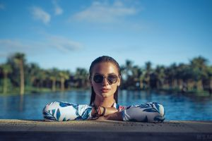 women depth of field wet clothing water drops clear sky women outdoors face palm trees slava kol looking at viewer wet hair women with shades sky brunette model