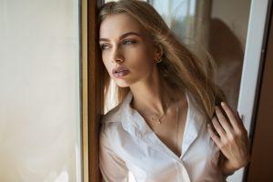 women dmitry shulgin portrait long hair lisa (model) necklace karina tikhonovskaya blonde looking out window