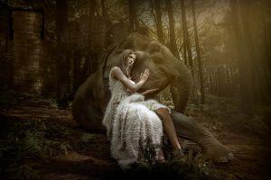 women elephant model animals model