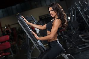 women fitness model dark hair gyms muscles