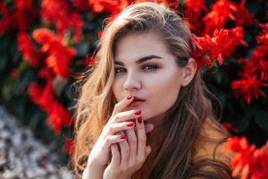 women flowers painted nails portrait model