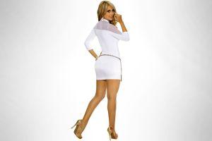 women high heels simple background daniela sanchez dress ass blonde model