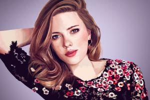 women illustration celebrity digital art scarlett johansson people painting