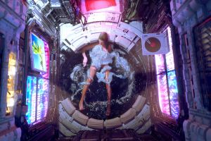 women in bathtub artwork futuristic cyberpunk
