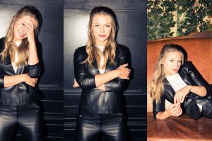 women jacket black pants arms crossed leather jackets actress smiling black jackets melissa benoist collage leather pants