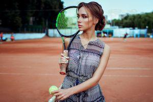 women kirill bukrey brunette portrait tennis balls tennis rackets women outdoors