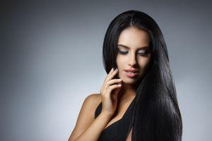 women long hair face model makeup black hair portrait dark hair simple background