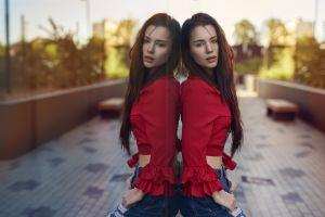 women long hair glass portrait reflection torn jeans